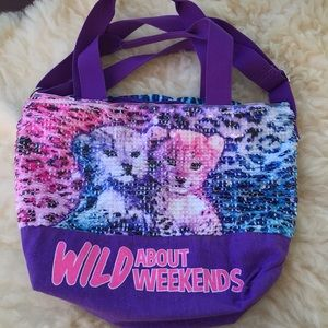 Justice Wild About Weekends Sequin tote bag